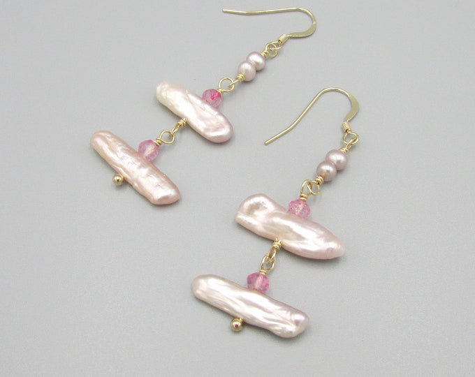 Biwa Pearl Earrings, Pink Earrings, Statement Earrings
