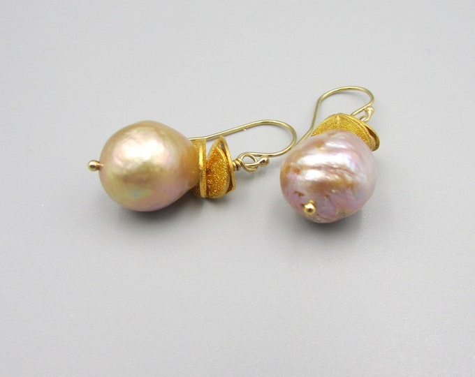 Baroque Pearl Drop Earrings | Edison Pearl Dangles | Signature Earrings | Rippled Pearl Earrings