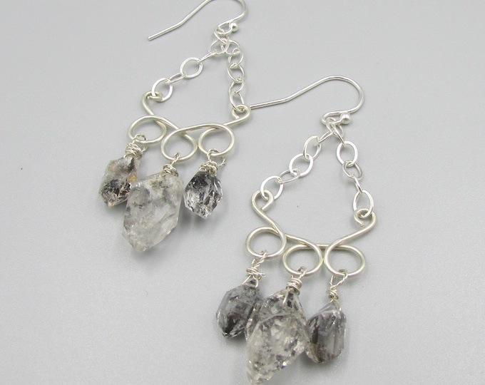 Herkimer Diamond Earrings | Healing Jewelry | Sterling Silver Long Earrings | Statement Jewelry