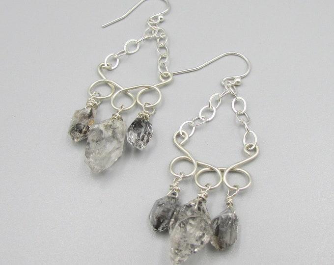 Herkimer Diamond Earrings | Healing Jewelry | Sterling Silver Long Earrings | Statement Jewelry