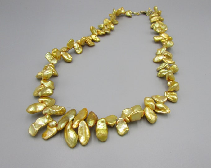 Keshi Pearl Necklace | Yellow Pearl Necklace
