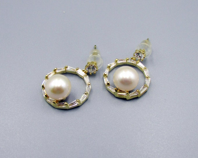 Pearl Hoop Earrings | Cubic Zirconia Pearl Stud Earrings