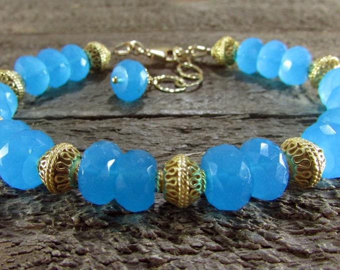Caribbean Blue Chalcedony & Gold Gemstone Bracelet
