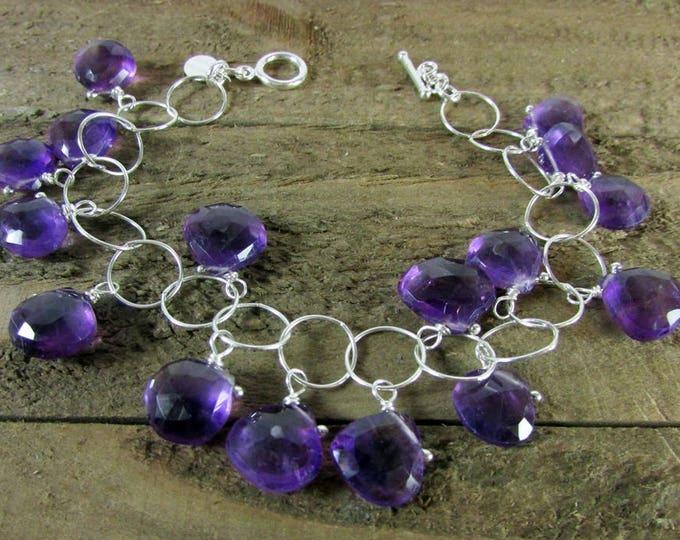 Amethyst Charm Bracelet   February Birthstone   Simple Bracelets