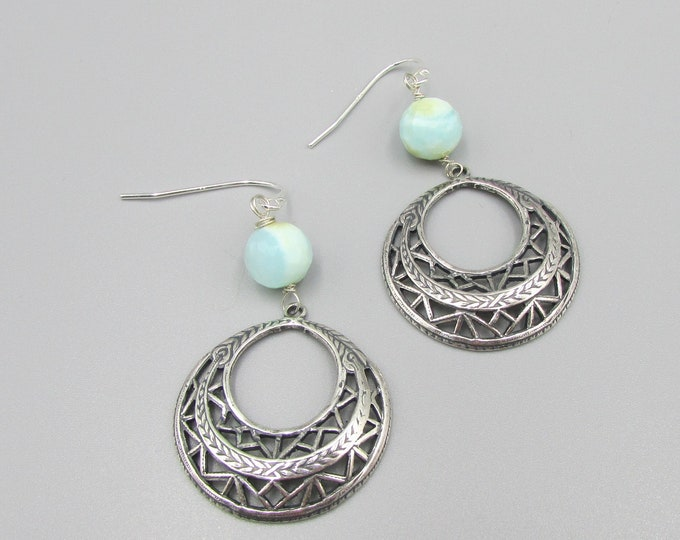 Blue Opal Earrings | Hoop Earrings