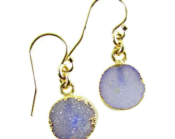 Purple Druzy Dangles | Delicate Earrings | Simple Earrings | Druzy Drop Earrings