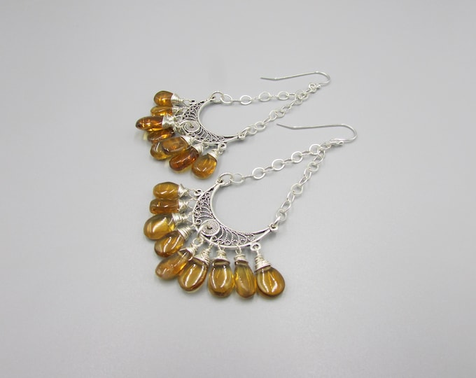 Citrine Earrings | Long Earrings