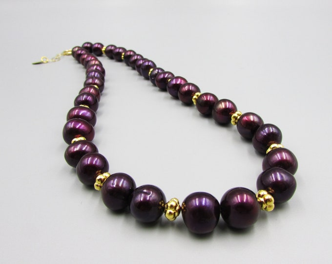Plum Pearl Necklace | Big Pearl Jewelry | Classic Pearls Necklace