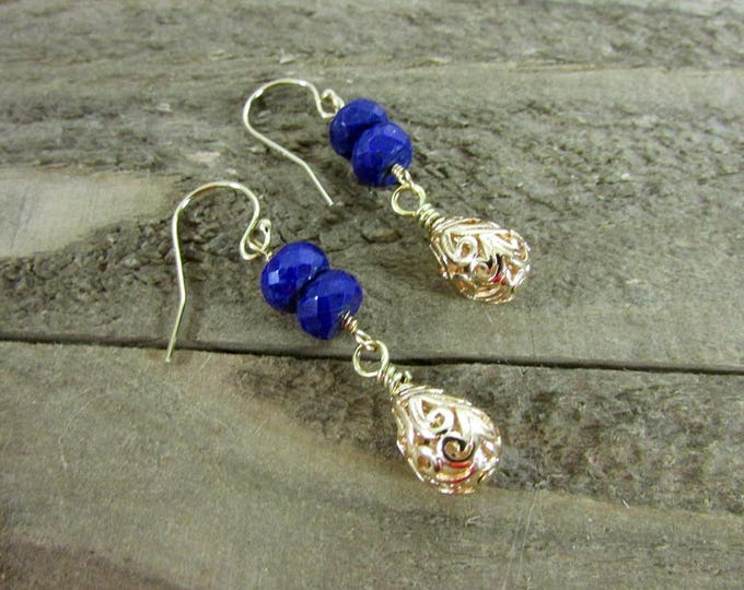 Lapis Earrings | Lapis Dangles Gold Filled Earrings | Blue & Gold Earrings