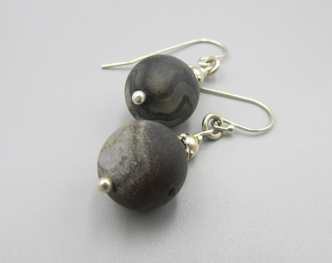 Black Druzy Dangle Earring, Matt Black Earrings, Sterling Silver Drops