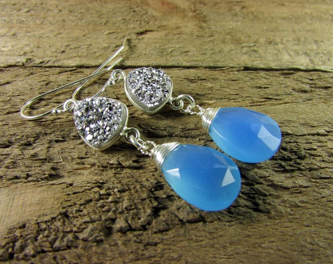 Chalcedony Earrings | Druzy Earrings | Silver & Blue Earrings | Signature Jewelry