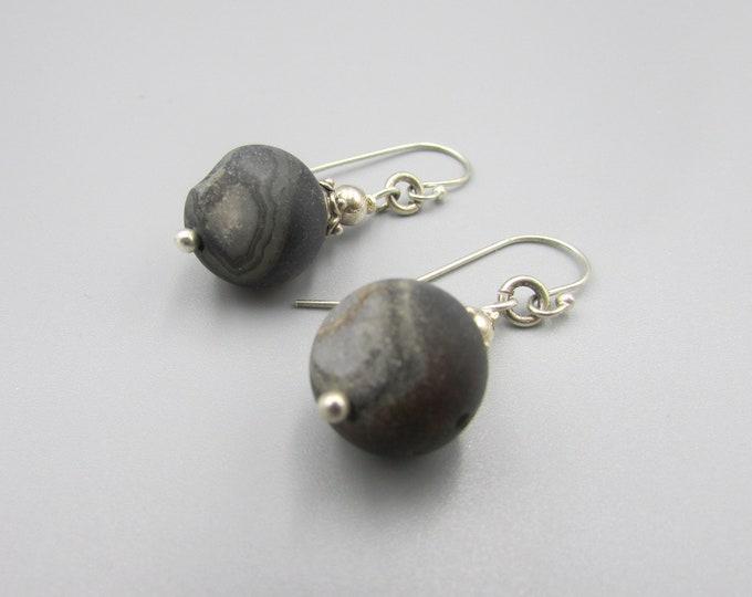 Black Druzy Dangle Earring | Matt Black Earrings