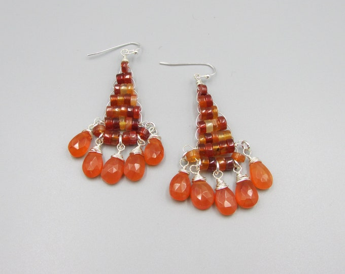 Carnelian Long Earrings | Red Orange Earrings | Statement Earrings | Signature Style