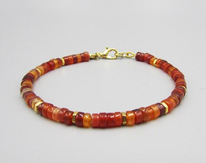 Carnelian Delicate Bracelets | Simple Bracelets | Gold & Carnelian Bracelet