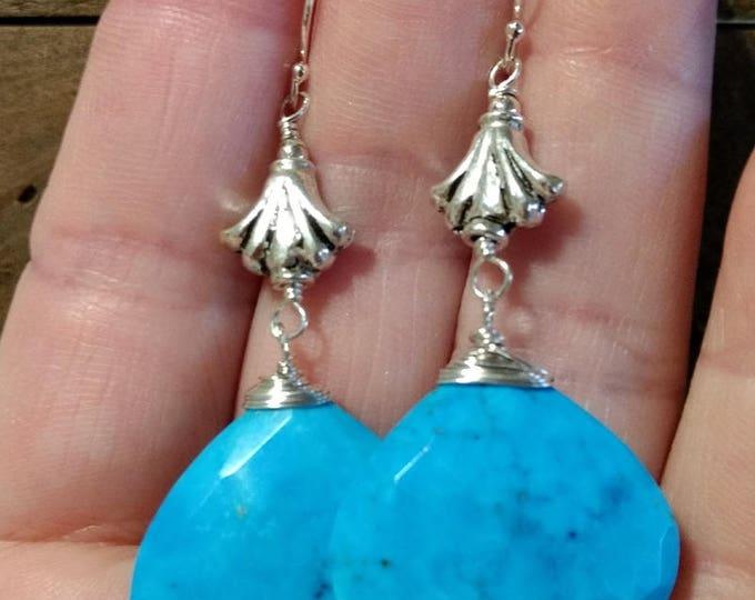 Genuine Turquoise Earrings | Sterling Fleur de lis Earrings | Turquoise Jewelry | Statement Jewelry