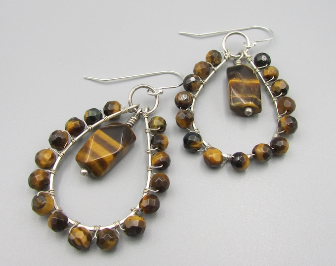 Bold Tiger Eye Earrings | Sterling Silver Wire Wrapped Earrings | Signature Earrings | Gemstone Jewelry