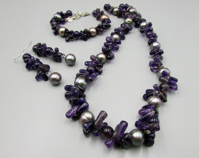 Amethyst Jewelry Sets for Woman | Hand Knotted Necklace | Bracelet | Earrings