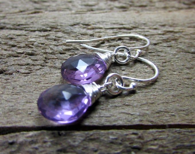 Amethyst Signature Earrings   February Birthstone   Light Purple Dangles
