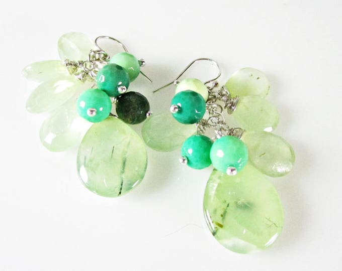 Prehnite Earrings, Green Cluster Earrings, Bold Earrings