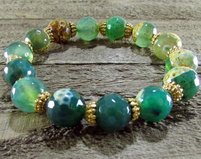 Green Agate & Gold Bracelet, Stretch Bracelet, Stackable Bracelets