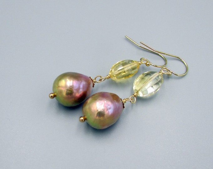 Baroque Pearl Earrings, Bronze Pearl & Citrine Earrings, Pearl Dangles