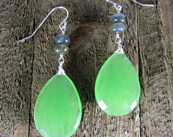 Green Chalcedony Bold Earrings | Long Dangle Earrings | Statement Earrings