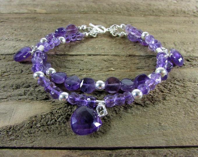 Amethyst Bracelet | Gemstone Jewelry | Simple Jewelry | Amethyst Jewelry