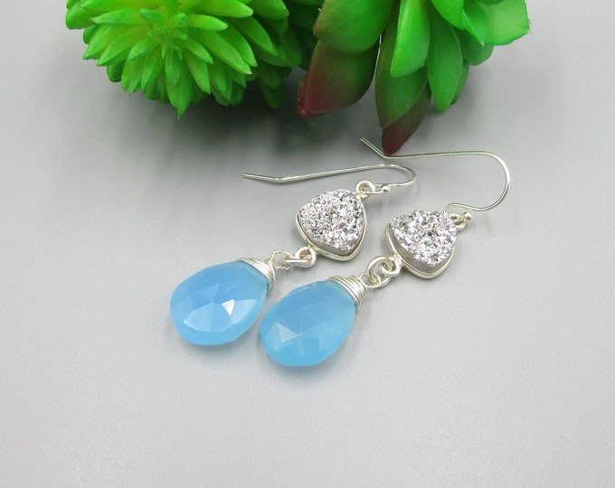 Chalcedony Earrings | Druzy Earrings