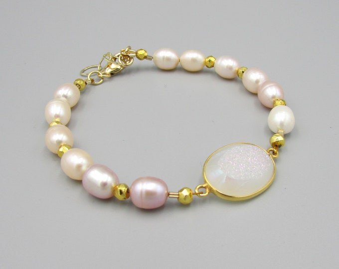 Pink Pearl Bracelet | Bridesmaid Bracelet | Bridal Jewelry