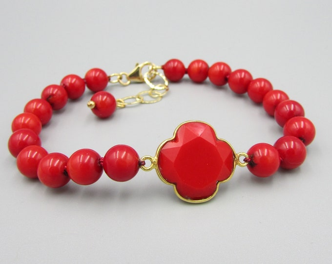 Red Coral Bracelet | Gemstone Bracelets | Statement Jewelry