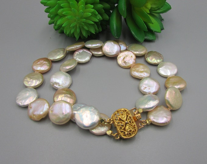 Multi Strand Coin Pearl Bracelet Gold Hand Knotted