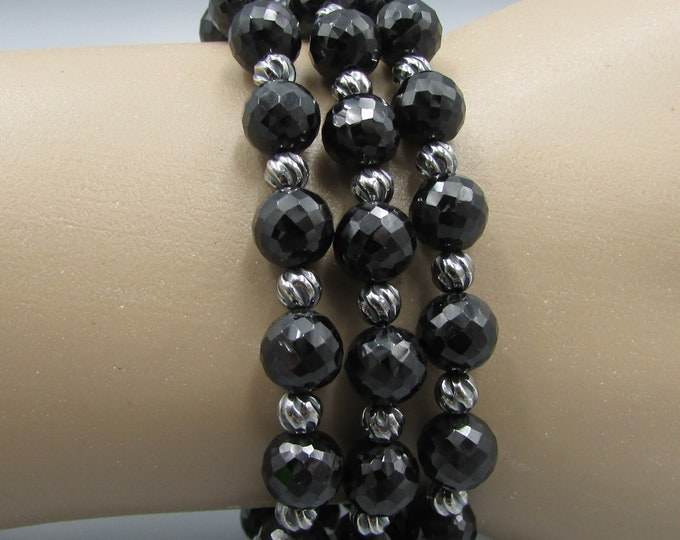 Multi Strand Black Spinel Bracelet