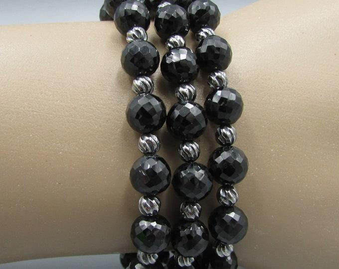 Triple Strand Black Spinel Bracelet | Round Stone Bracelet | Small Wrist Bracelet