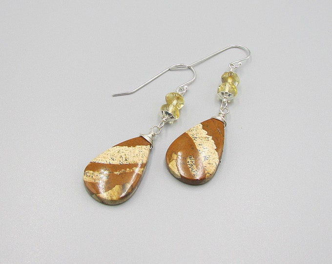 Brown Jasper Earring | Citrine Dangle | Signature Earrings
