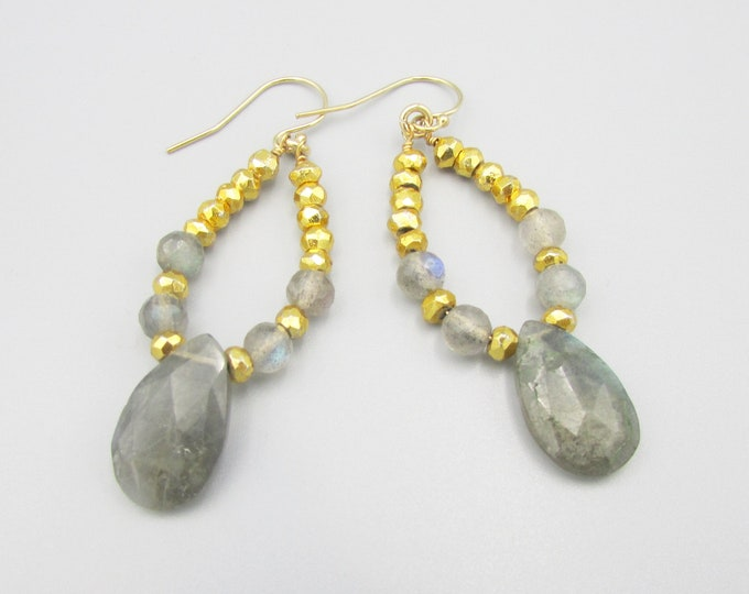 Labradorite & Gold Pyrite Earrings, Gemstone Earrings, Teardrop Labradorite Dangles