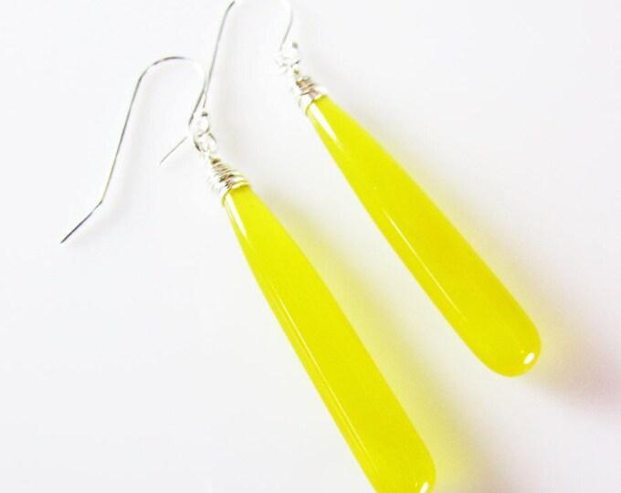 Lemon Chalcedony Long Earrings