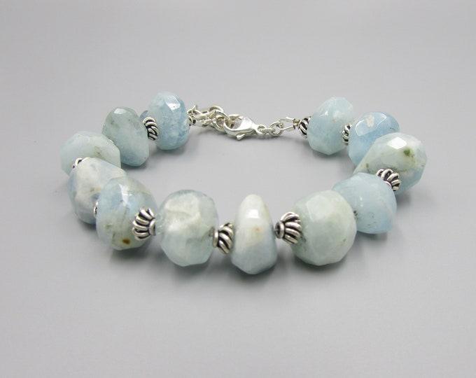 Aquamarine Nugget Bracelet Sterling Silver