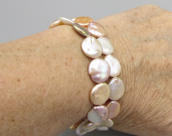 Multi Strand Coin Pearl Bracelet, Natural Freshwater Pearl Jewelry, Hand Knotted Pearl Bracelet