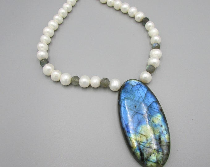 Bold Labradorite Pearl Necklace | Large Blue Flash Labradorite Pendant | Classic Pearls