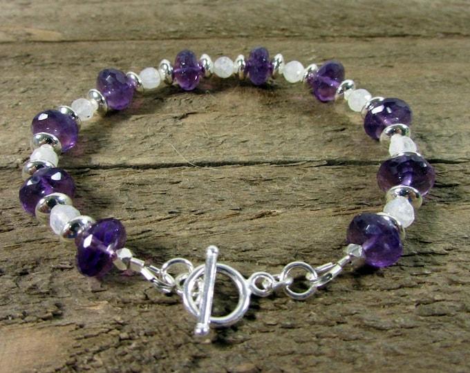 Amethyst Moonstone Bracelet   Deep Purple Bracelet   Gemstone Jewelry   Signature Style