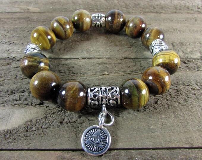 Tiger Eye Stretch Bracelet, All Seeing Eye Charm Bracelet, Egyptian Jewelry
