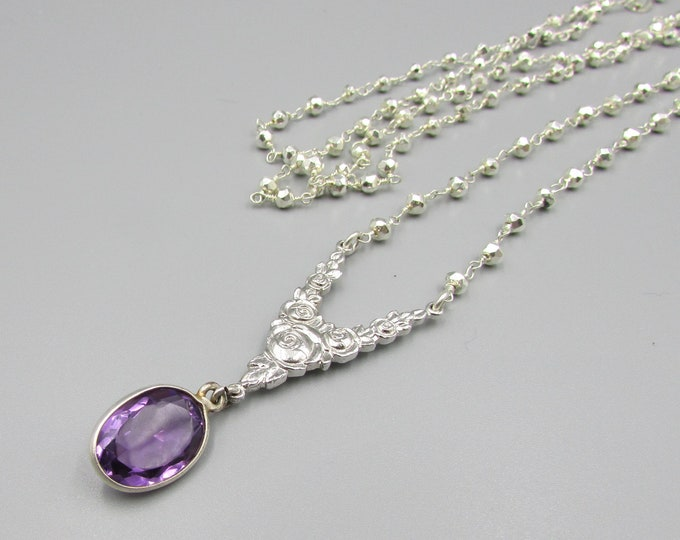 Amethyst Silver Pyrite Necklace | AA+ Amethyst Pendant | Statement Jewelry| Y-Necklaces