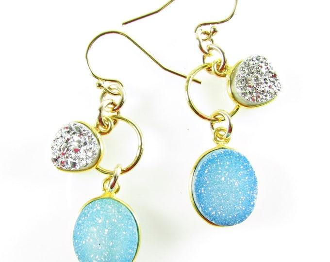 Blue Druzy Earrings | Statement Earrings