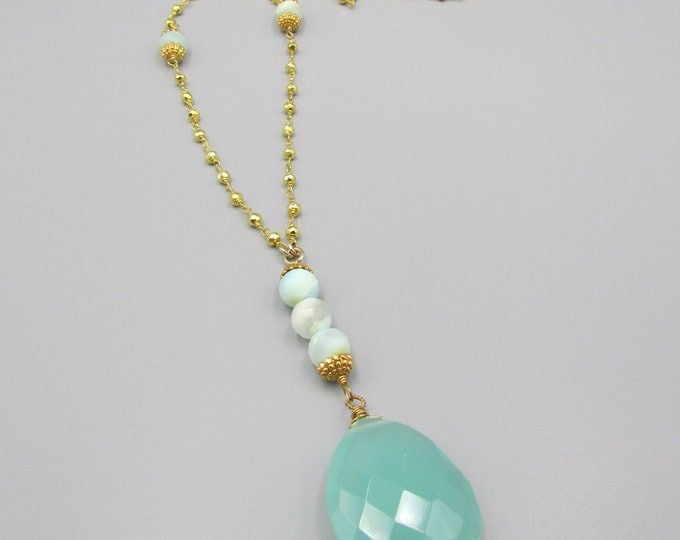 Peruvian Opal Long Gold Pyrite Necklace