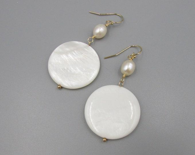 Mother of Pearl Earrings | Coin Pearl Earrings | Hippy Earrings | Big Disc Coin Dangle