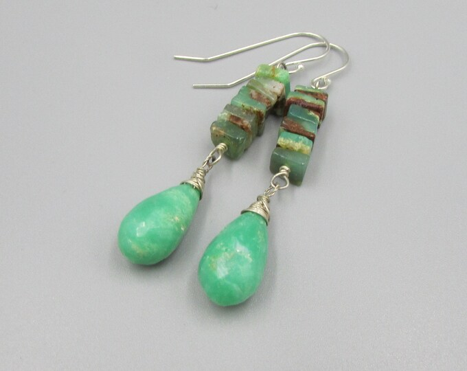 Chrysoprase Earrings | Green Gemstone Dangles | Sterling Silver Jewelry