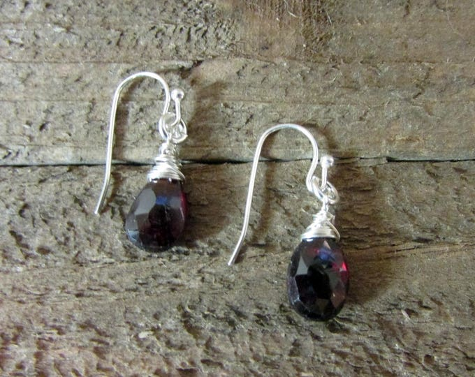 Red Garnet Simple Earrings | Dainty Earrings | Gemstone Drop Earrings | Little Girl Earrings