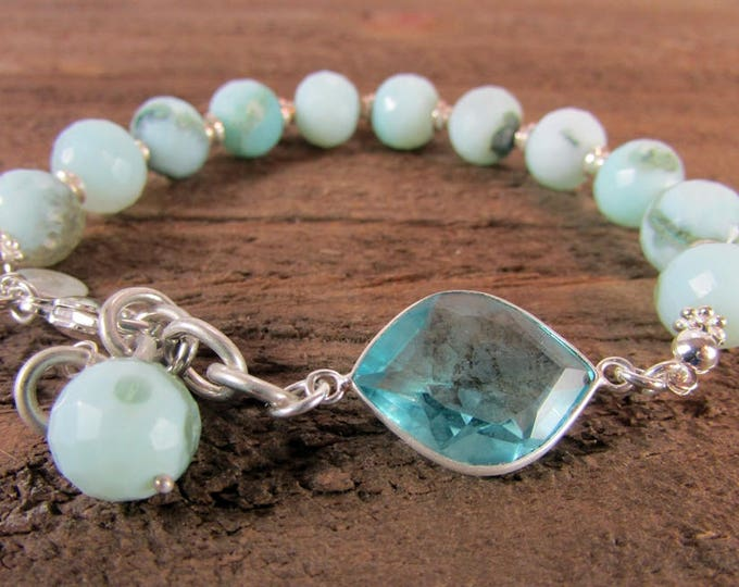 Blue Peruvian Opal & Blue Topaz Bracelet | Round Gemstone Bracelets | Peru Opal Bracelet | Round Stone Bracelet | December Birthstone
