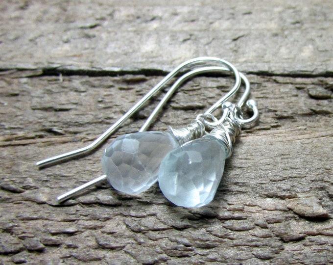 Dainty Aquamarine Gemstone Drop Earring, Light Blue Dangle