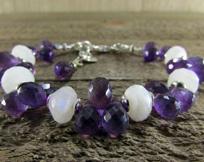 Moonstone & Amethyst Teardrop Bracelet, Deep Purple Amethyst Bracelet